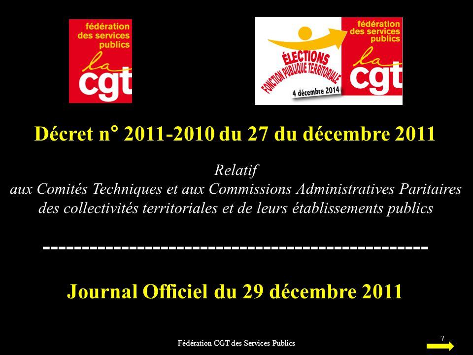 Décret n° 2011-2010 du 27 du décembre 2011 Relatif aux Comités Techniques et aux Commissions Administratives Paritaires des collectivités territoriale