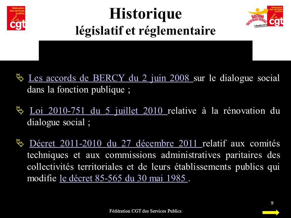 Historique législatif et réglementaire Fédération CGT des Services Publics 9  Les accords de BERCY du 2 juin 2008 sur le dialogue social dans la fonc