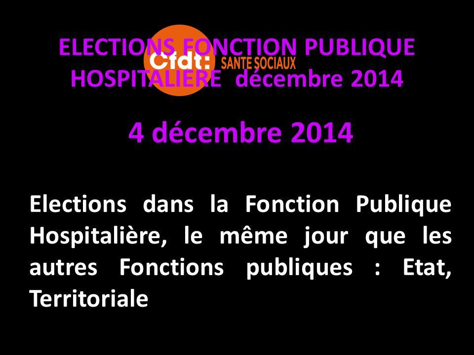 ELECTIONS FONCTION PUBLIQUE HOSPITALIERE décembre 2014 vous serez appelé à élire vos représentants au Comité Technique d'Établissement Commissions Administratives Paritaires Locales et Départementales.