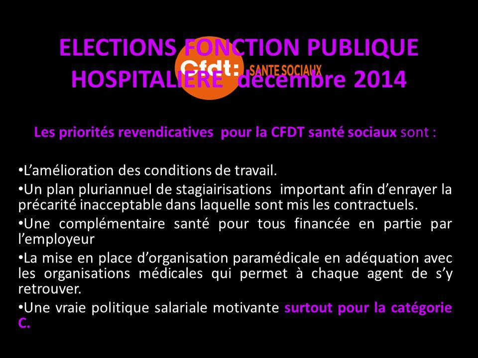 ELECTIONS FONCTION PUBLIQUE HOSPITALIERE décembre 2014 Les priorités revendicatives pour la CFDT santé sociaux sont : L'amélioration des conditions de
