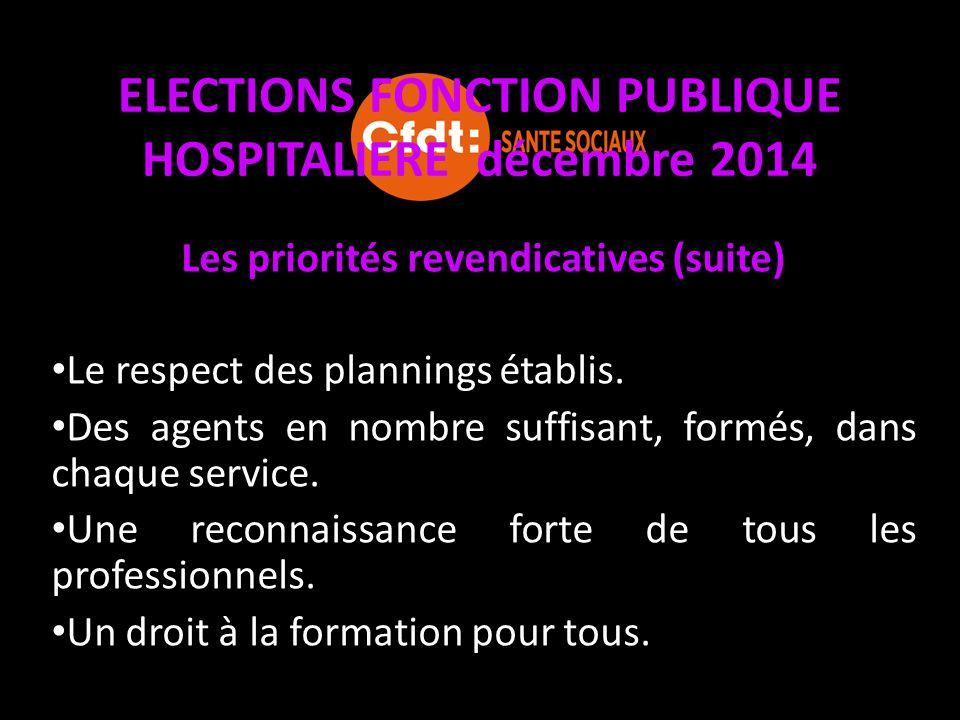 ELECTIONS FONCTION PUBLIQUE HOSPITALIERE décembre 2014 Les priorités revendicatives (suite) Le respect des plannings établis. Des agents en nombre suf