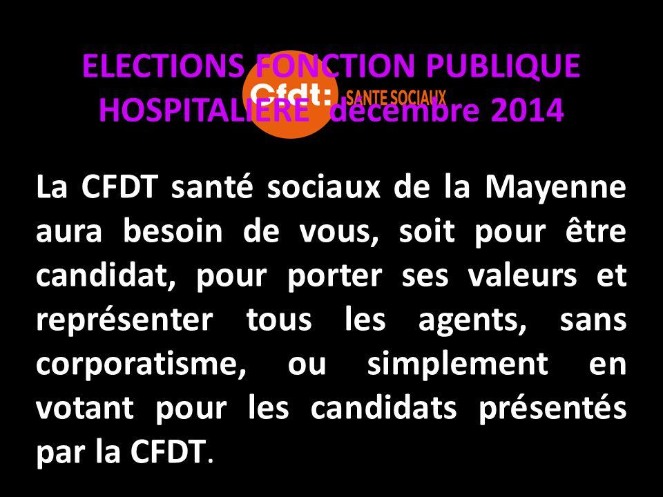 ELECTIONS FONCTION PUBLIQUE HOSPITALIERE décembre 2014 La CFDT santé sociaux de la Mayenne aura besoin de vous, soit pour être candidat, pour porter s
