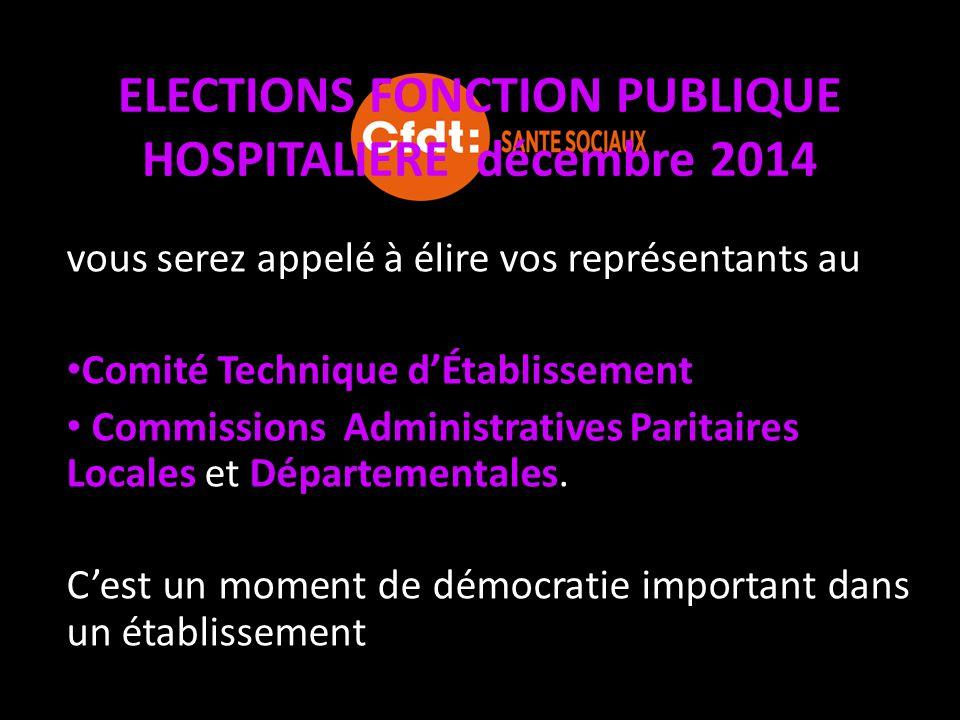 ELECTIONS FONCTION PUBLIQUE HOSPITALIERE décembre 2014 Cela permettra aussi de déterminer la représentativité au niveau régional pour le : Comité de Gestion des Œuvres Sociales (C.G.O.S) l'Association Nationale de Formation Hospitalière (A.N.F.H)