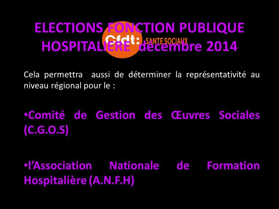 ELECTIONS FONCTION PUBLIQUE HOSPITALIERE décembre 2014 Cela permettra aussi de déterminer la représentativité au niveau régional pour le : Comité de G