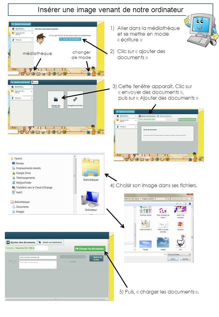 Insérer une image venant de notre ordinateur 1)Aller dans la médiathèque et se mettre en mode « écriture » 2)Clic sur « ajouter des documents » 2) All