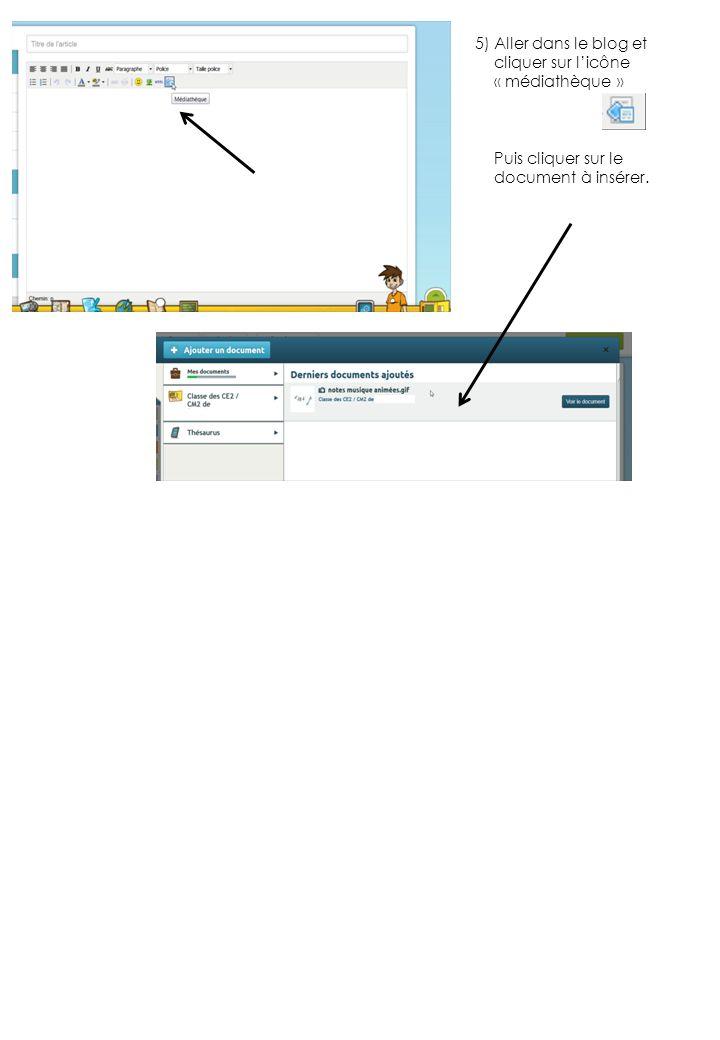 5) Aller dans le blog et cliquer sur l'icône « médiathèque » Puis cliquer sur le document à insérer.