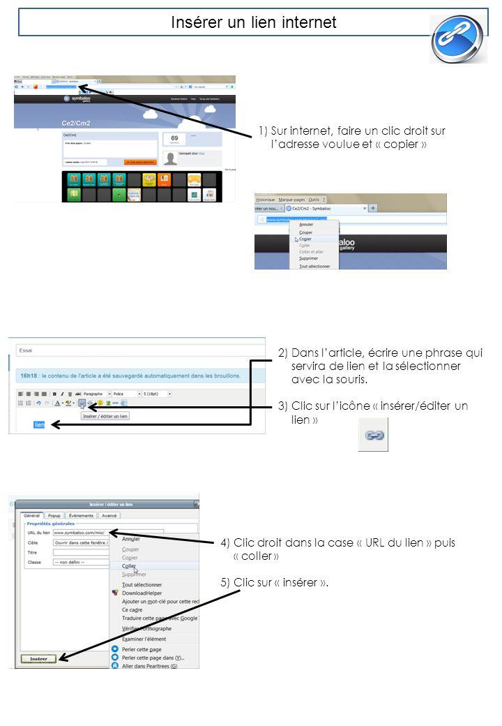 Insérer un lien internet 1) Sur internet, faire un clic droit sur l'adresse voulue et « copier » 2) Dans l'article, écrire une phrase qui servira de l