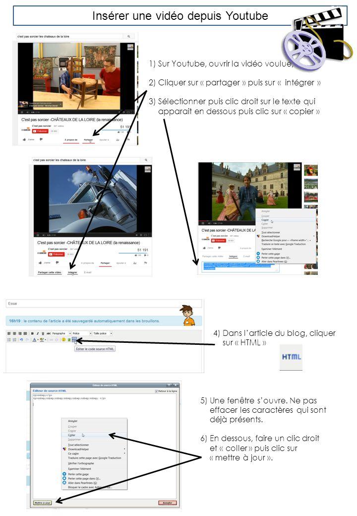 Insérer une vidéo depuis Youtube 1)Sur Youtube, ouvrir la vidéo voulue, 2) Cliquer sur « partager » puis sur « intégrer » 3) Sélectionner puis clic dr
