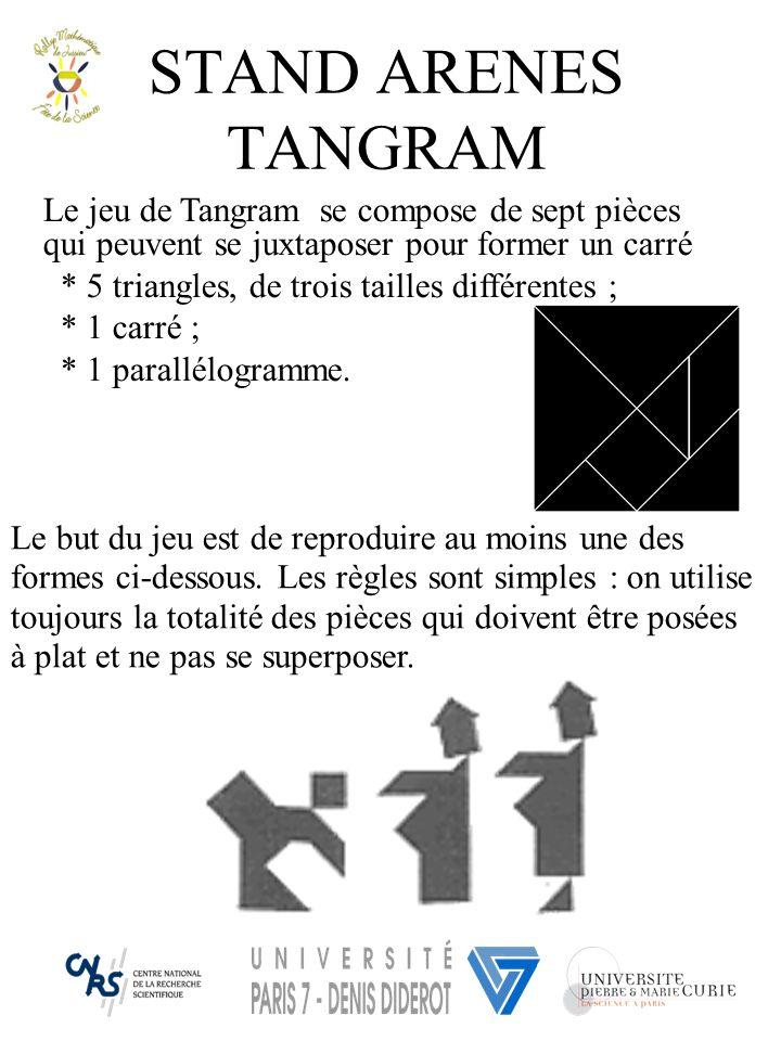 STAND ARENES TANGRAM Le jeu de Tangram se compose de sept pièces qui peuvent se juxtaposer pour former un carré * 5 triangles, de trois tailles différ