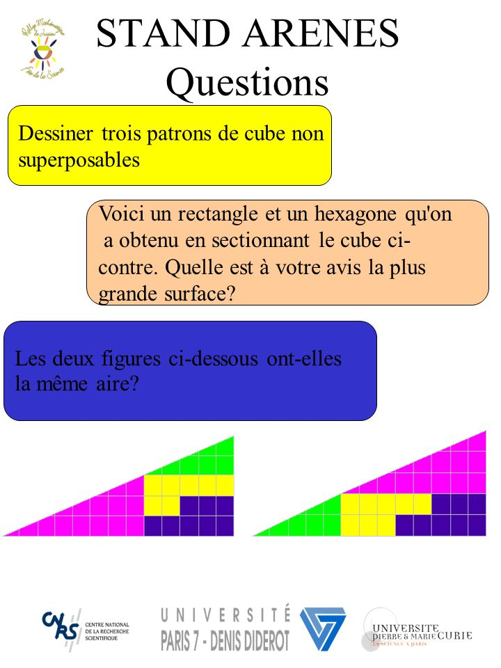 Les deux figures ci-dessous ont-elles la même aire? Voici un rectangle et un hexagone qu'on a obtenu en sectionnant le cube ci- contre. Quelle est à v