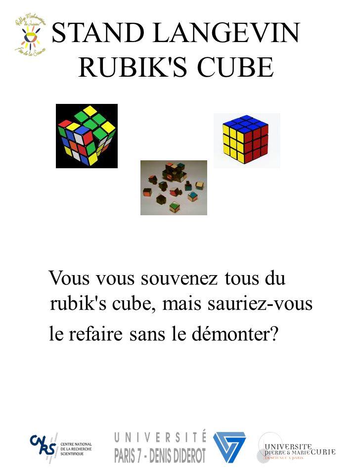 STAND LANGEVIN RUBIK'S CUBE Vous vous souvenez tous du rubik's cube, mais sauriez-vous le refaire sans le démonter?