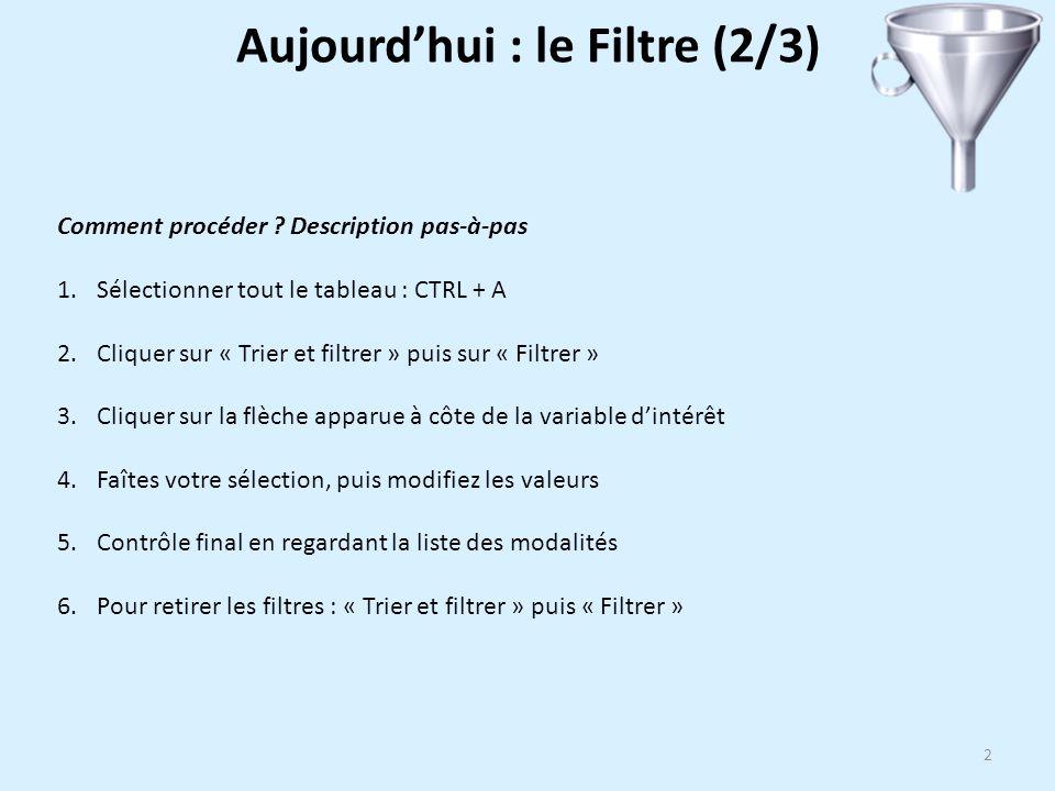 2 Comment procéder ? Description pas-à-pas 1.Sélectionner tout le tableau : CTRL + A 2.Cliquer sur « Trier et filtrer » puis sur « Filtrer » 3.Cliquer