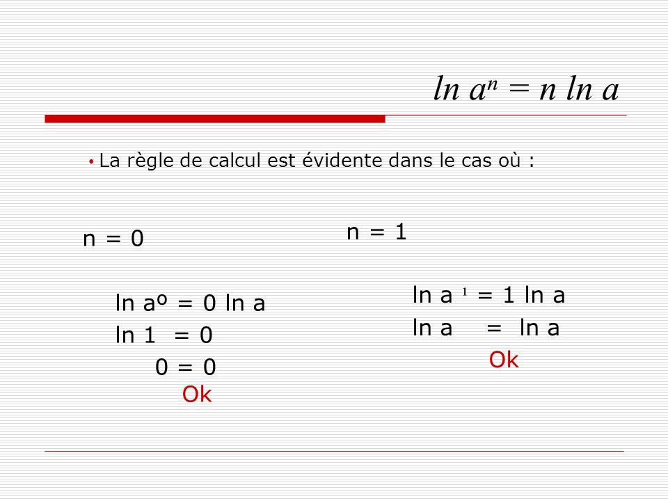 ln aⁿ = n ln a Si n est un nombre strictement positif, Alors aⁿ = a.