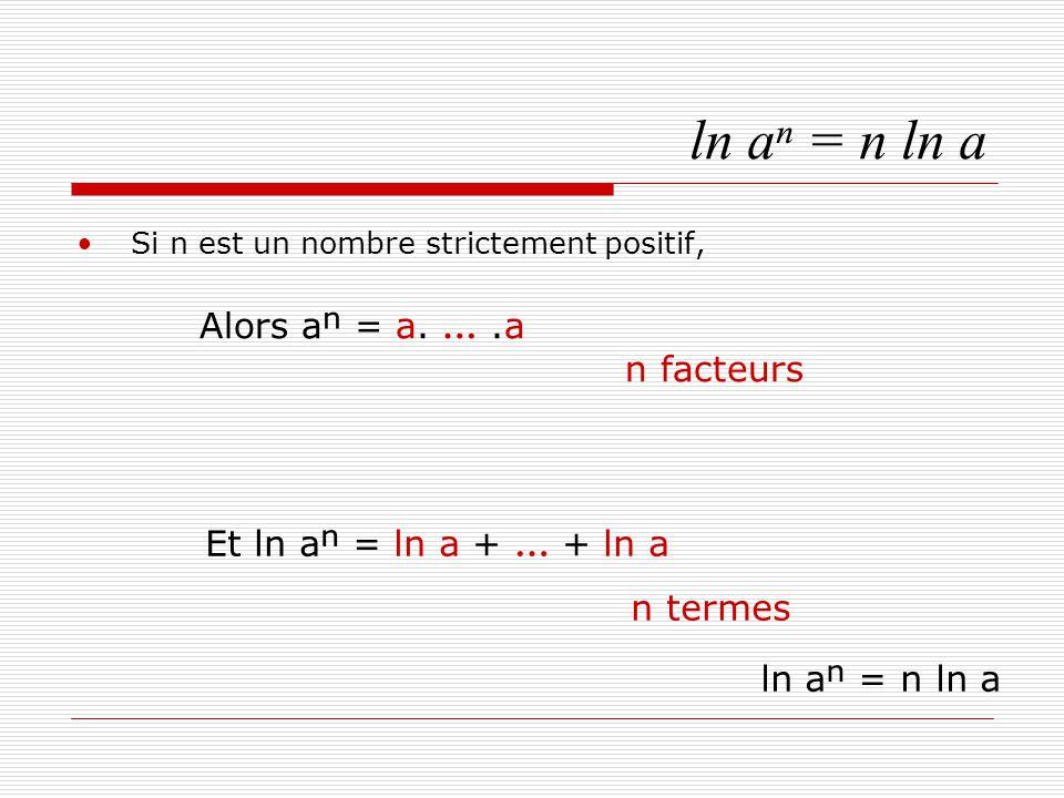 ln aⁿ = n ln a Si n est un nombre strictement négatif, Alors q = - n est un nombre entier positif, et aⁿ = D'où : ln aⁿ = ln 1 – ln aⁿ = n ln a = - q ln a = n ln a