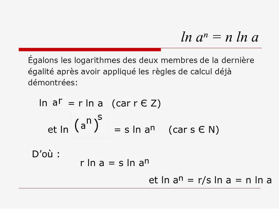 ln aⁿ = n ln a La formule est démontrée dans les rationnels et acceptée dans les irrationnels.