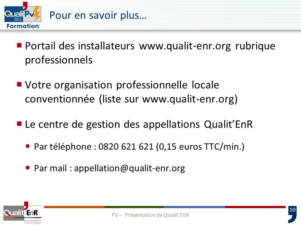 11 www.qualit-enr.org info@qualit-enr.org Merci de votre attention et bonne formation PV – Présentation de Qualit'EnR