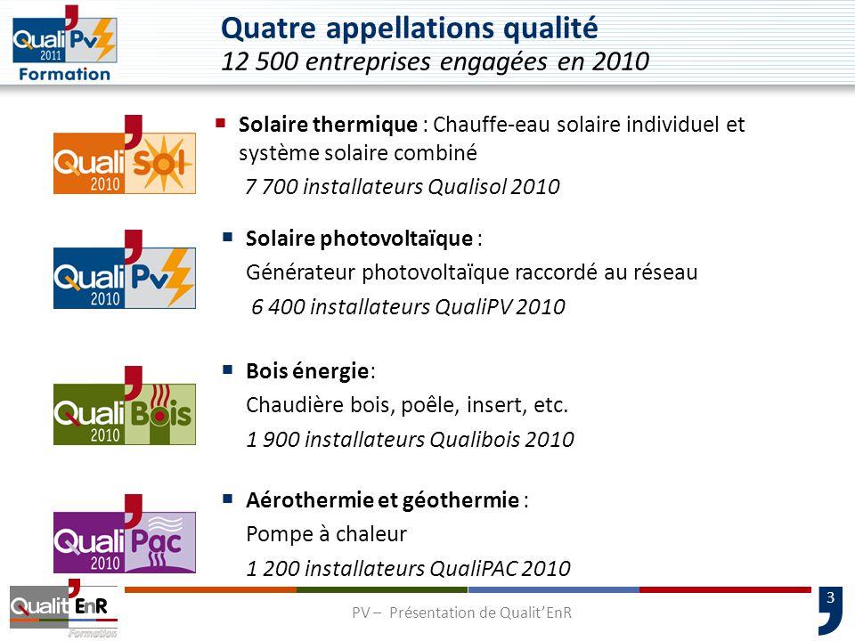 4 L'appellation QualiPV  Pour le grand public, une appellation : Appellation qualité pour les installateurs de systèmes solaires photovoltaïques raccordés au réseau  Pour les entreprises, 2 compétences : « Module élec » pour la compétence électrique « Module bât » pour la compétence intégration au bâti PV – Présentation de Qualit'EnR