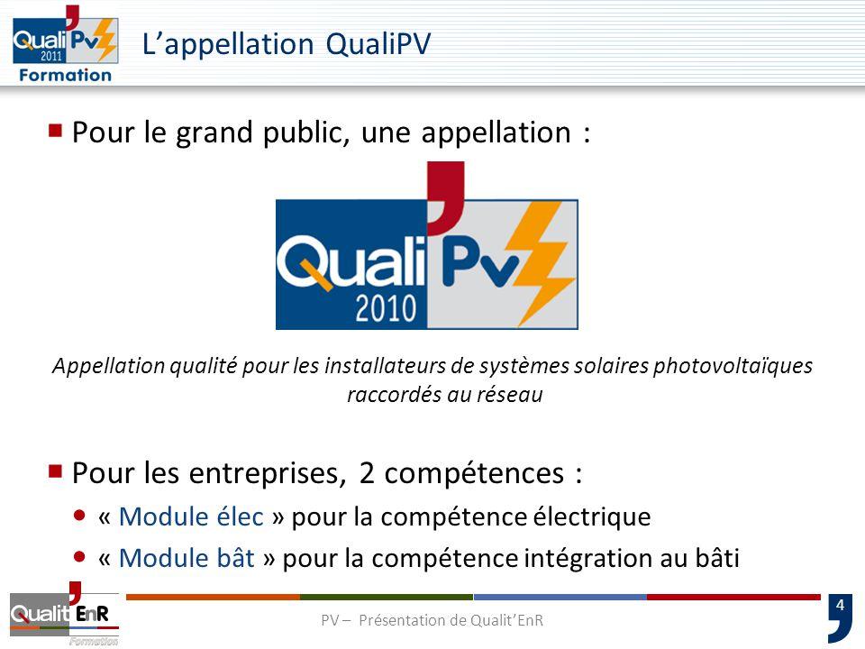 5 Charte QualiPV : l'engagement des installateurs 10 engagements auxquels doit souscrire l'installateur dans le cadre de la démarche qualité  Compétences professionnelles  Respect des obligations légales  Conseil auprès des clients  Pratiques commerciales  Contrôle des installations par Qualit'EnR  … PV – Présentation de Qualit'EnR