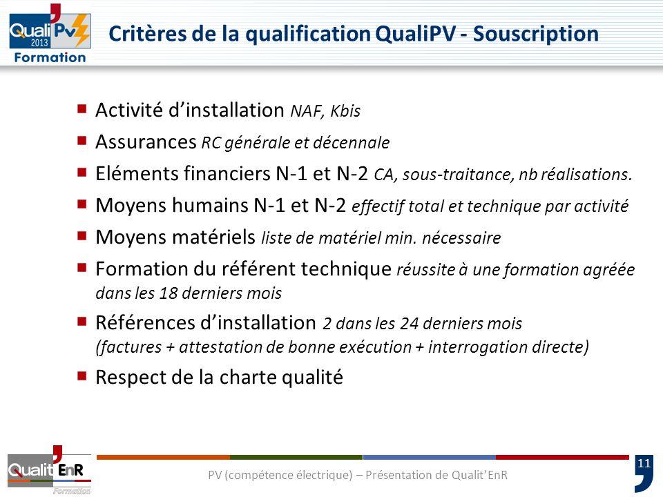 11 Critères de la qualification QualiPV - Souscription  Activité d'installation NAF, Kbis  Assurances RC générale et décennale  Eléments financiers