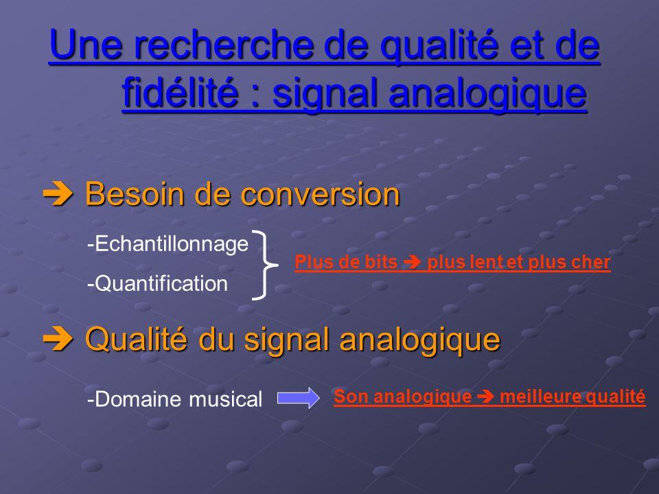 Besoin de conversion Une recherche de qualité et de fidélité : signal analogique  Qualité du signal analogique -Echantillonnage -Quantification Plu
