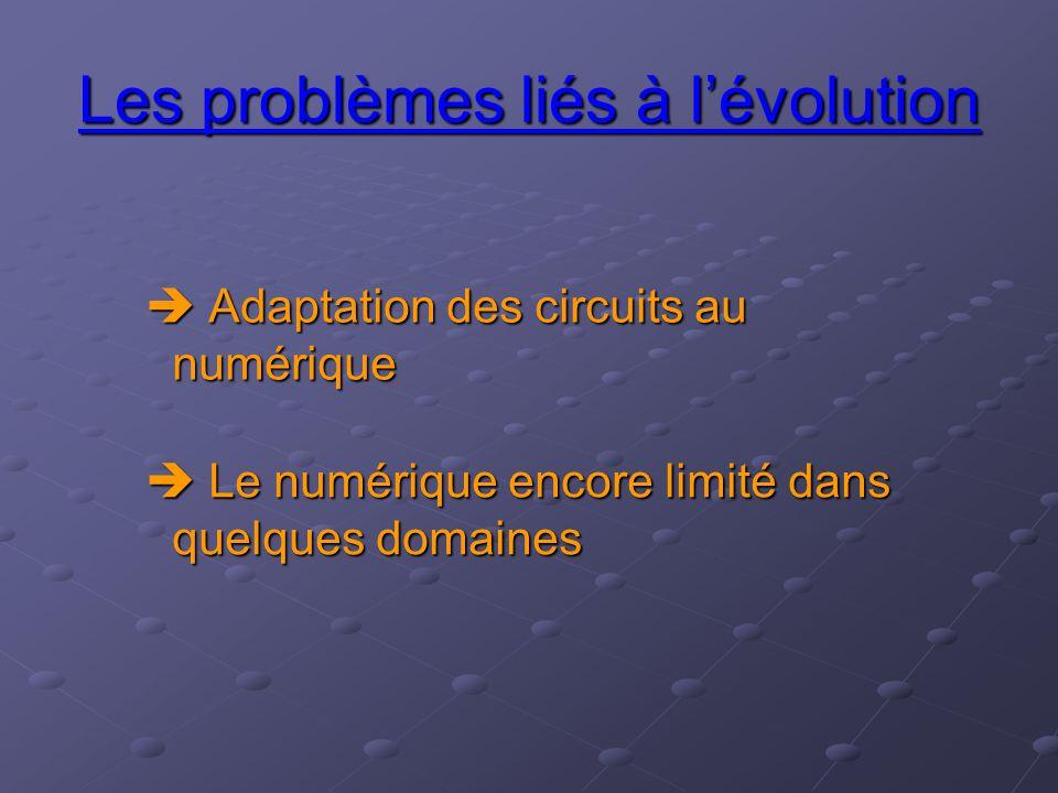 Les problèmes liés à l'évolution  Adaptation des circuits au numérique  Le numérique encore limité dans quelques domaines