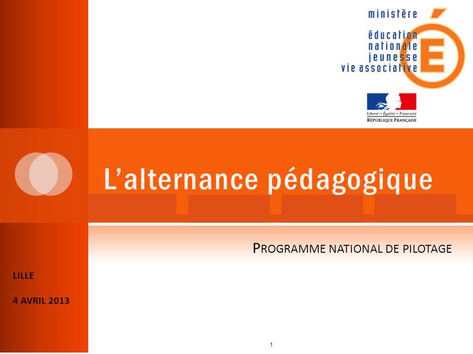 L'alternance pédagogique LILLE 4 AVRIL 2013 P ROGRAMME NATIONAL DE PILOTAGE 1