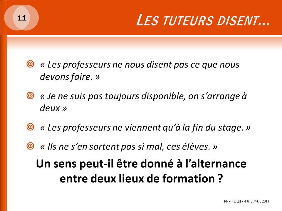 L ES TUTEURS DISENT … PNP - L ILLE - 4 & 5 AVRIL 2013 11  « Les professeurs ne nous disent pas ce que nous devons faire. »  « Je ne suis pas toujour