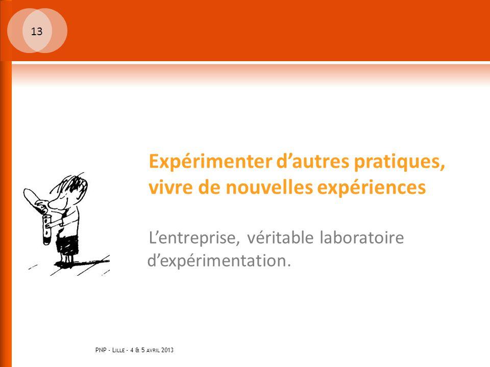PNP - L ILLE - 4 & 5 AVRIL 2013 13 Expérimenter d'autres pratiques, vivre de nouvelles expériences L'entreprise, véritable laboratoire d'expérimentation.