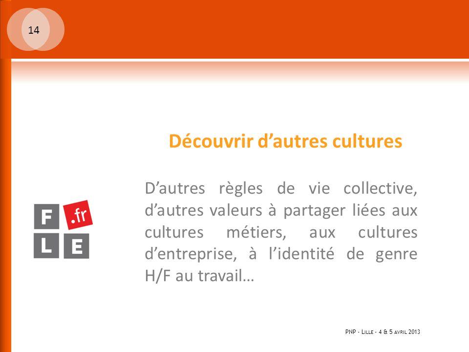PNP - L ILLE - 4 & 5 AVRIL 2013 14 Découvrir d'autres cultures D'autres règles de vie collective, d'autres valeurs à partager liées aux cultures métiers, aux cultures d'entreprise, à l'identité de genre H/F au travail…