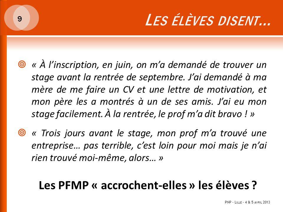 L ES ÉLÈVES DISENT … PNP - L ILLE - 4 & 5 AVRIL 2013 9  « À l'inscription, en juin, on m'a demandé de trouver un stage avant la rentrée de septembre.