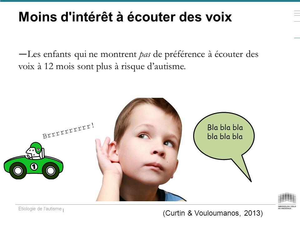 Moins d'intérêt à écouter des voix — Les enfants qui ne montrent pas de préférence à écouter des voix à 12 mois sont plus à risque d'autisme. Etiologi