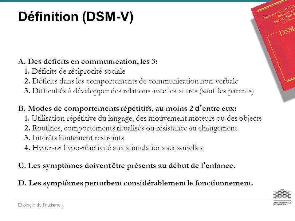 Définition (DSM-V) A. Des déficits en communication, les 3: 1. Déficits de réciprocité sociale 2. Déficits dans les comportements de communication non