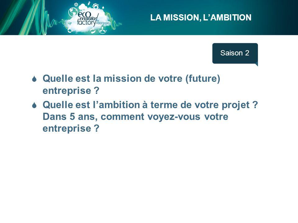 LA MISSION, L'AMBITION Saison 1  Quelle est la mission de votre (future) entreprise .