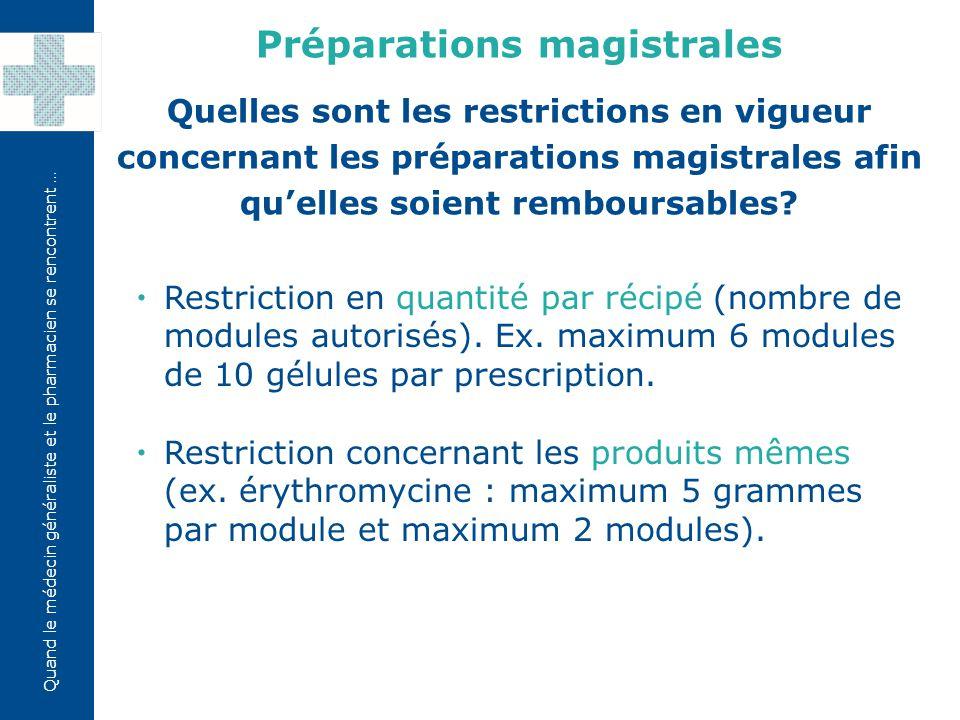Quand le médecin généraliste et le pharmacien se rencontrent …  Restriction en quantité par récipé (nombre de modules autorisés). Ex. maximum 6 modul