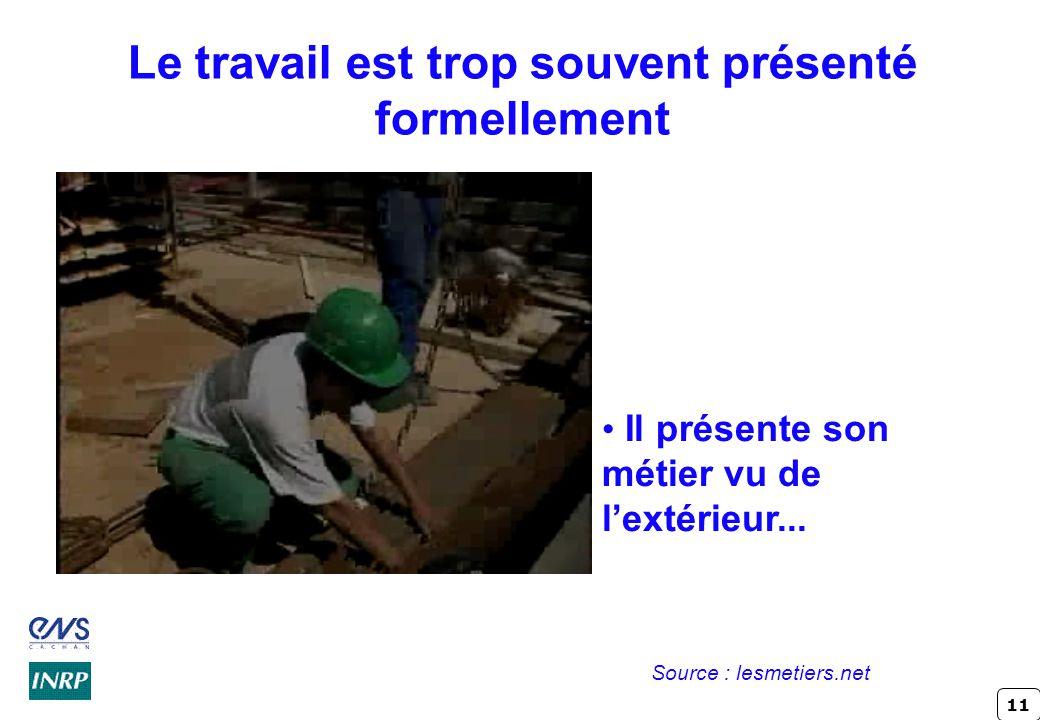 11 Le travail est trop souvent présenté formellement Il présente son métier vu de l'extérieur...