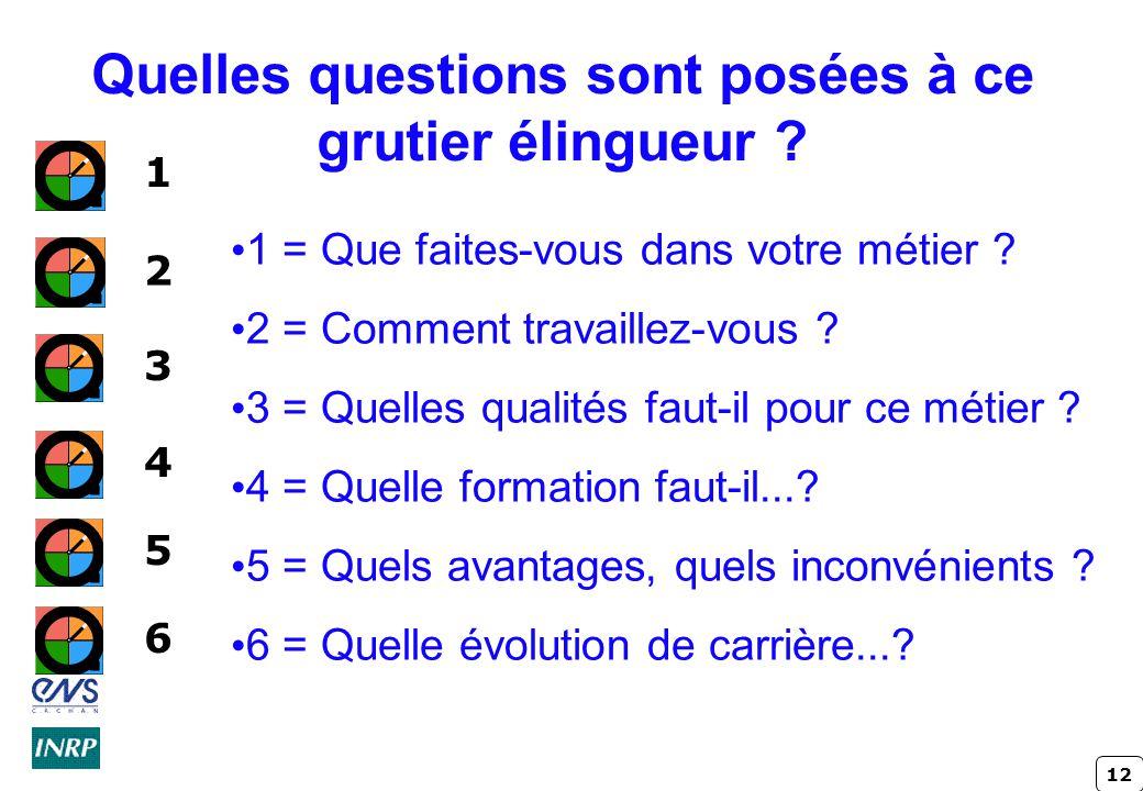 12 Quelles questions sont posées à ce grutier élingueur .