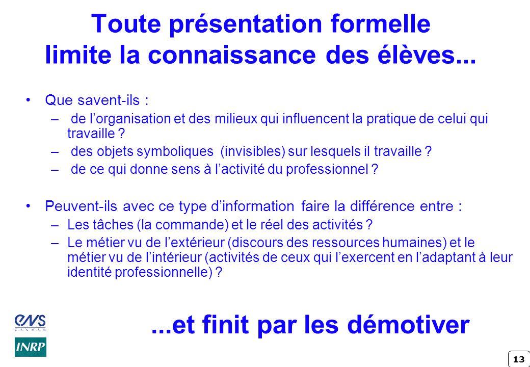 13 Toute présentation formelle limite la connaissance des élèves...