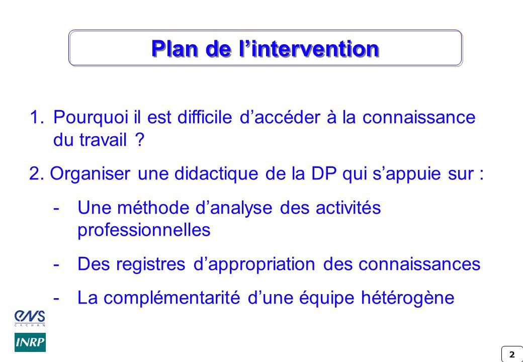 2 Plan de l'intervention 1.Pourquoi il est difficile d'accéder à la connaissance du travail .