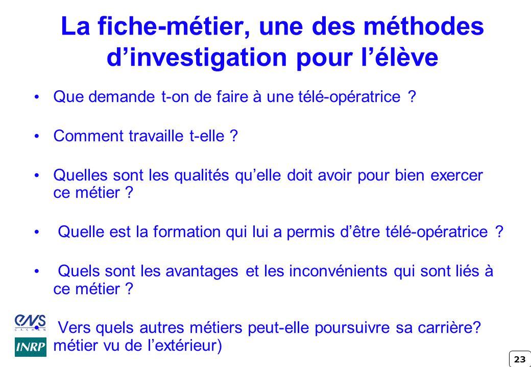 23 La fiche-métier, une des méthodes d'investigation pour l'élève Que demande t-on de faire à une télé-opératrice .