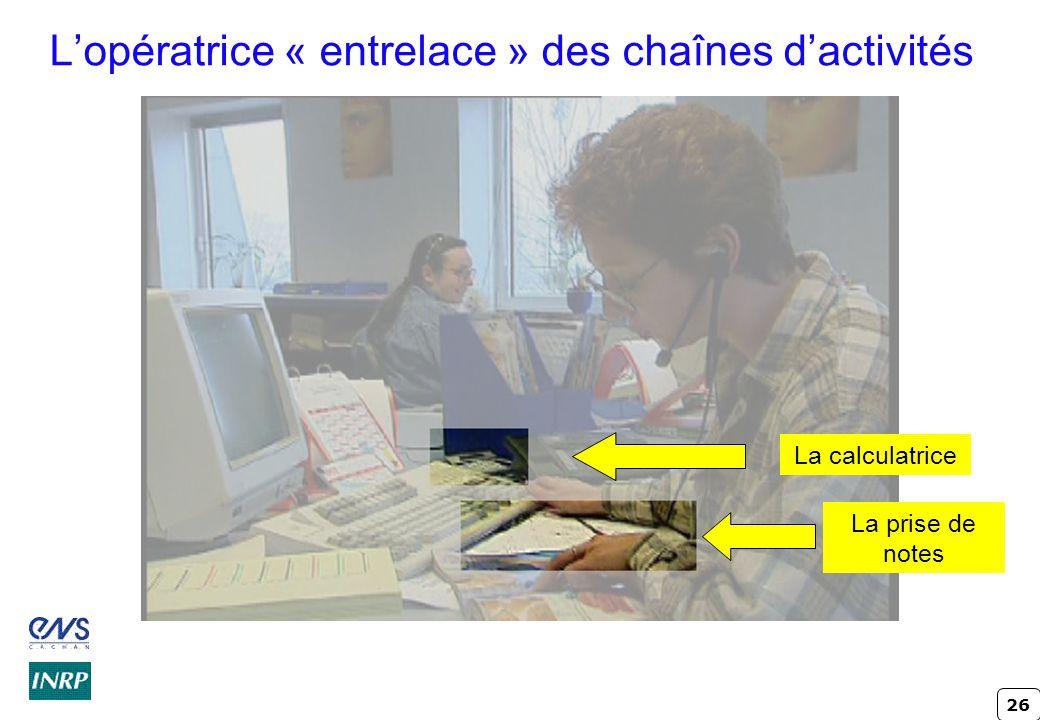 26 L'opératrice « entrelace » des chaînes d'activités La prise de notes La calculatrice