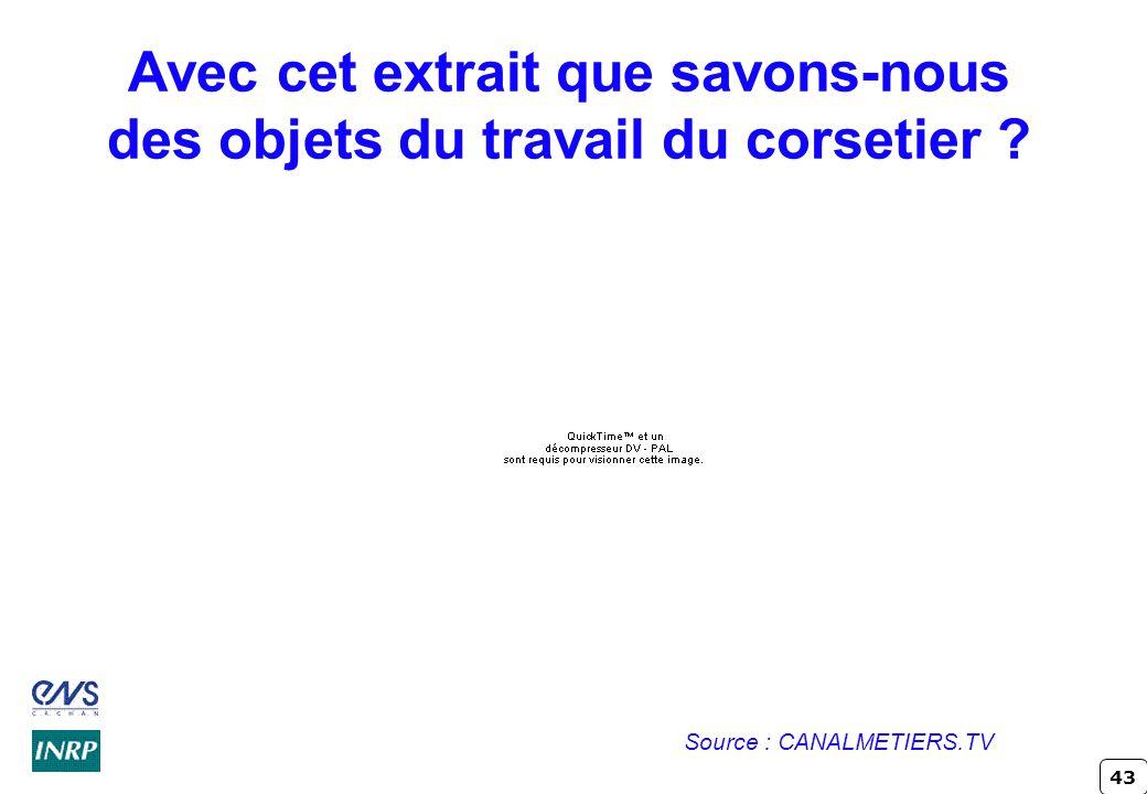 43 Avec cet extrait que savons-nous des objets du travail du corsetier ? Source : CANALMETIERS.TV