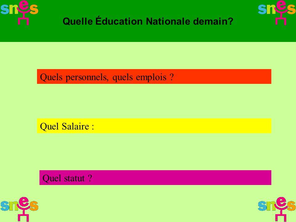 Quelle Éducation Nationale demain? Quels personnels, quels emplois ? Quel Salaire : Quel statut ?