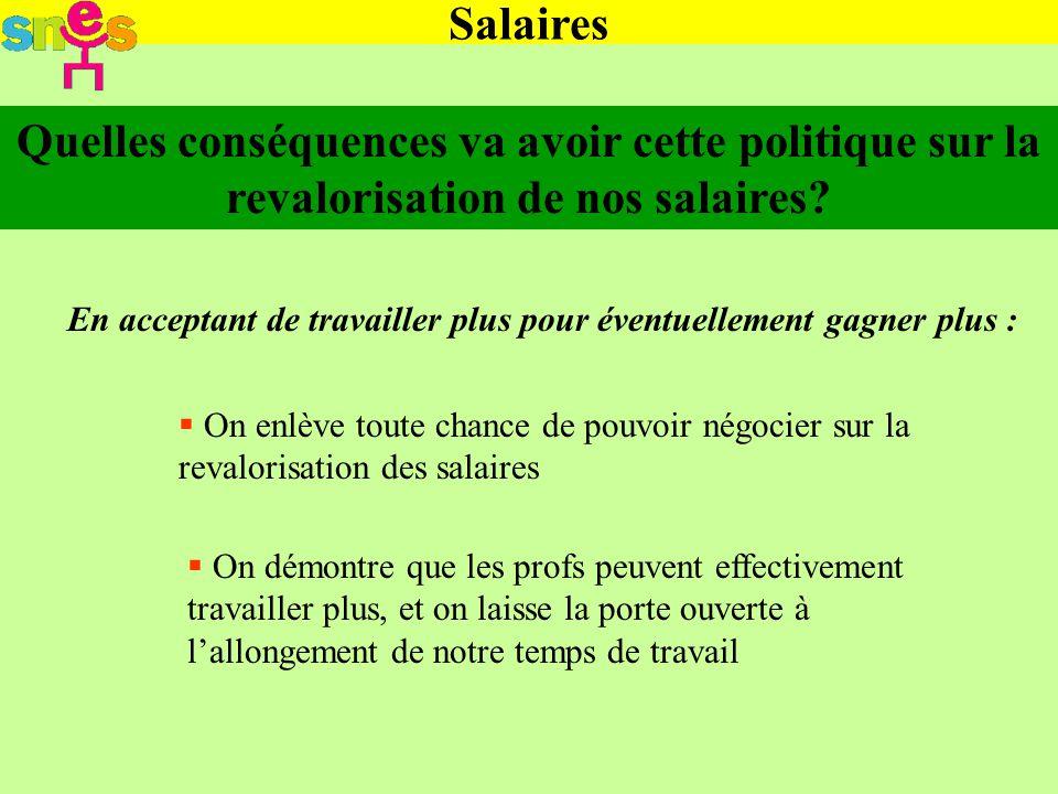 Salaires Quelles conséquences va avoir cette politique sur la revalorisation de nos salaires.