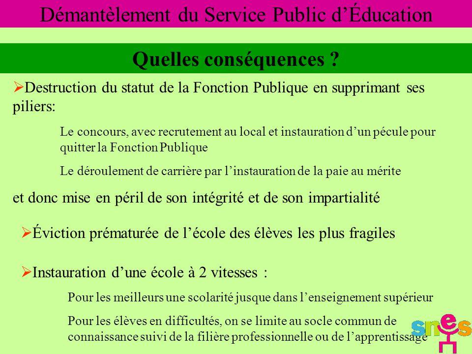 Démantèlement du Service Public d'Éducation Quelles conséquences .