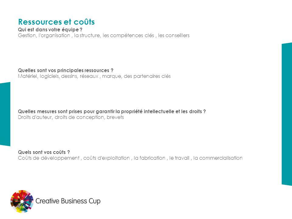 Ressources et coûts Qui est dans  votre équipe ? Gestion, l'organisation, la structure, les compétences clés, les conseillers Quelles sont vos princ