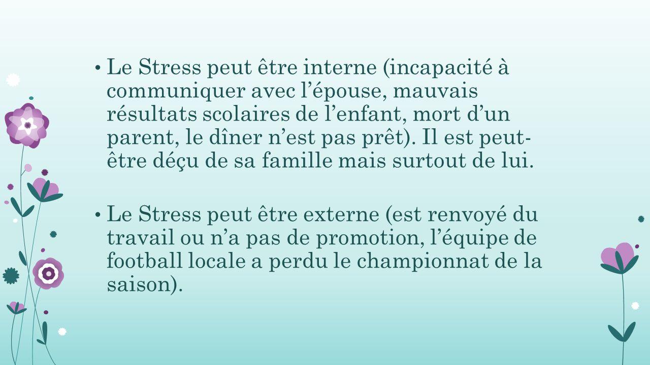 Le Stress peut être interne (incapacité à communiquer avec l'épouse, mauvais résultats scolaires de l'enfant, mort d'un parent, le dîner n'est pas prêt).