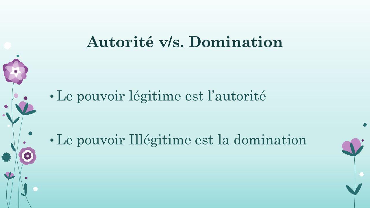 Autorité v/s. Domination Le pouvoir légitime est l'autorité Le pouvoir Illégitime est la domination