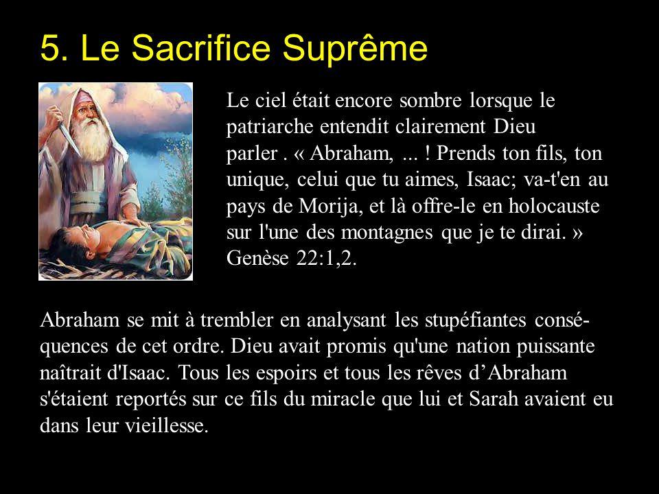 Le ciel était encore sombre lorsque le patriarche entendit clairement Dieu parler. « Abraham,... ! Prends ton fils, ton unique, celui que tu aimes, Is