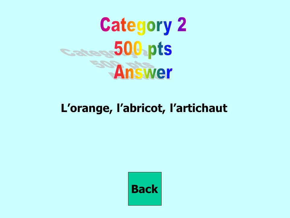 L'orange, l'abricot, l'artichaut Back