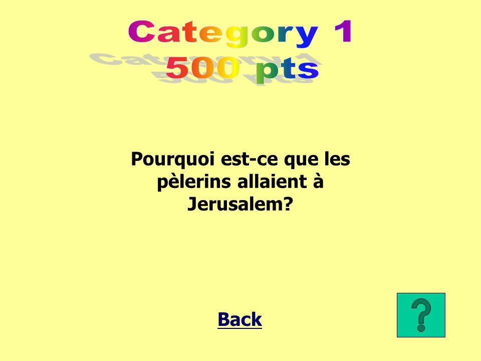 Pourquoi est-ce que les pèlerins allaient à Jerusalem? Back